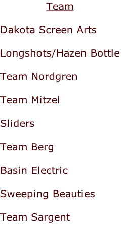 Team  Dakota Screen Arts  Longshots/Hazen Bottle  Team Nordgren  Team Mitzel  Sliders  Team Berg  Basin Electric  Sweeping Beauties  Team Sargent